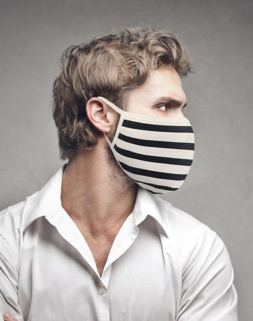 PASSION Reuseable Two Layer Cotton Face Mask, Black & White Horizontal Bars, One Size