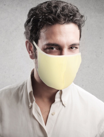 PASSION Reuseable Two Layer Cotton Face Mask, Yellow, One Size